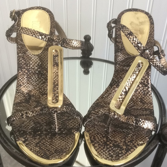 Shoes - Mia brown fabric snakeskin Wedge with gold trim